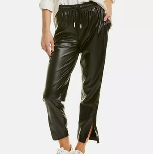 Theory Slit Pull On Pants Black Paper Faux NWT 8